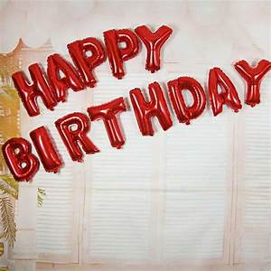 16 inch red color happy birthday letters deco foil balloon With red letter balloons