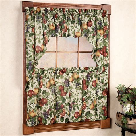 kitchen curtains with fruit design sonoma fruit tier window treatments 7909