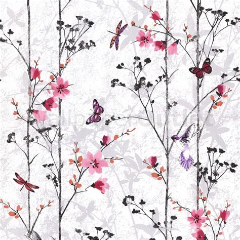 textured paintable wallpaper muriva butterflies wallpaper pink 102550