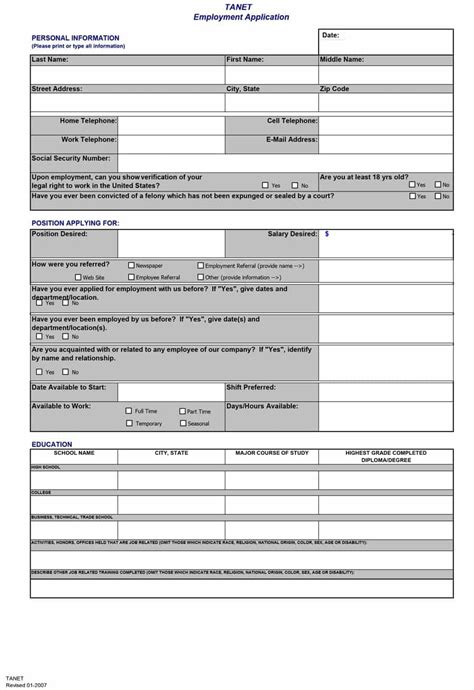 Mustervorlage Bewerbung by 50 Free Employment Application Form Templates