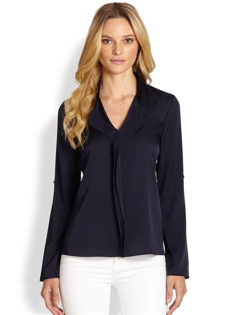 navy blue silk blouse breeze clothing