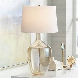 Possini, Euro, Design, Modern, Table, Lamp, Clear, Champagne, Glass, Jar, Off, White, Drum, Shade, For, Living