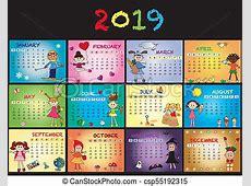 Calendario, 2019, niños, feliz