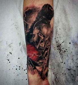 3D like painted and colored firearm tattoo of angry ...