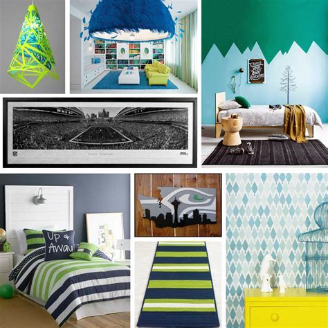 Seahawks Mood Board   Sports Fan Kids Room Decor   Epoch