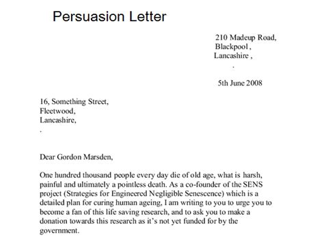sample persuasion letters sample letters word