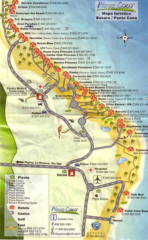 location de canap this detailed punta cana tourist map shows the location of