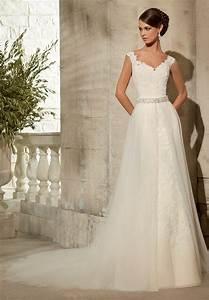 morilee bridal tulle overskirt with beaded waistband With overskirt wedding dress