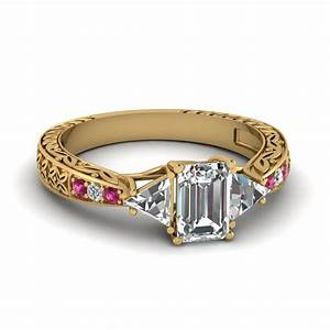 antique trillion and emerald cut diamond ring in 14k white With antique diamond wedding rings