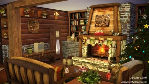 frau engel christmas log cabin sims  downloads