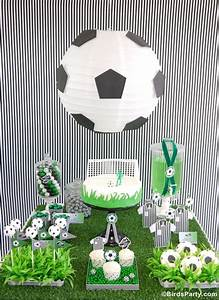 Soccer Football Birthday Party Desserts Table & Printables