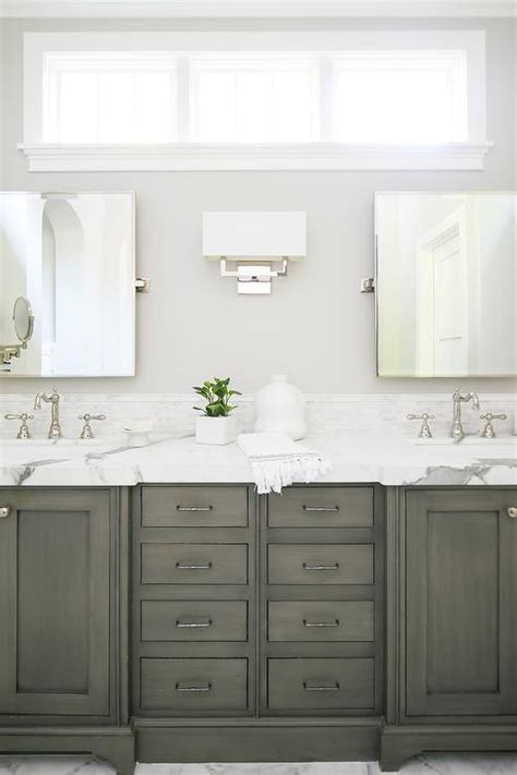light taupe bath cabinets  gray floor tiles