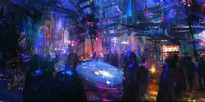 Cyberpunk Futuristic Artwork Neon Night Lights Sci