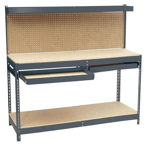 home depot work bench edsal 60 in h x 72 in w x 24 in d steel workbench with