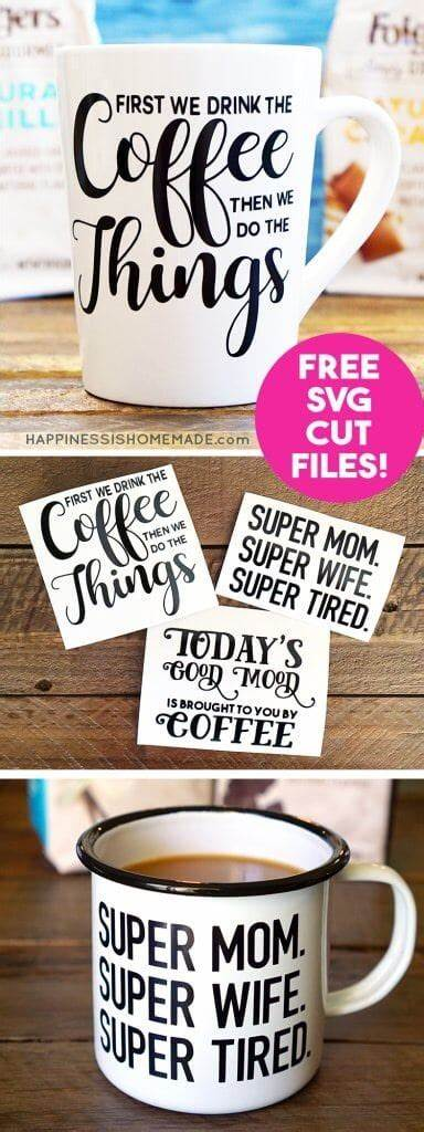 You can use infusible ink to make them or just regular permanent vinyl. DIY Funny Coffee Mugs + Free SVG Cut Files - Happiness is Homemade