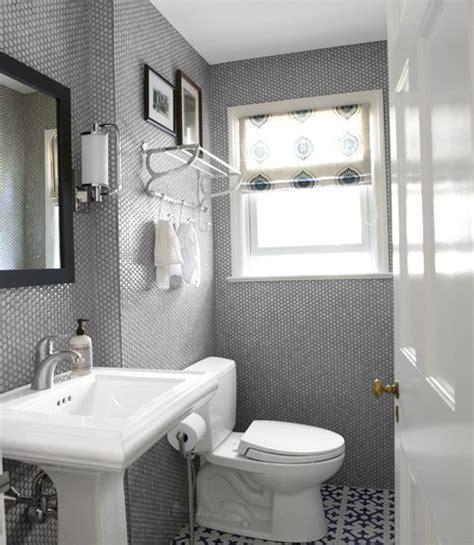 Awesome Small Grey Bathroom Tile Wall White Washbasin Design