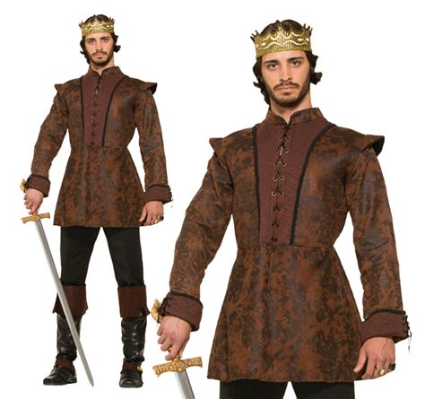 mens brown kings coat fancy dress costume medieval game