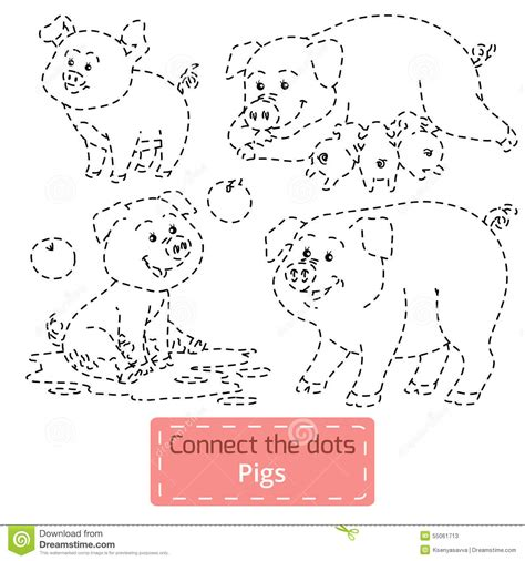 connect  dots farm animals set pig family stock