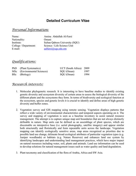 Detailed Curriculum Vitae by Detailed Curriculum Vitae Personal Information