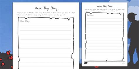 Anzac Day Diary Writing Template  Writing, Diary, Anzac