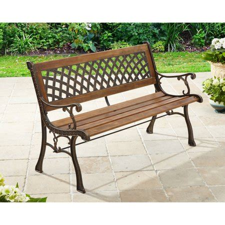 walmart garden bench better homes and gardens lattice outdoor bench walmart