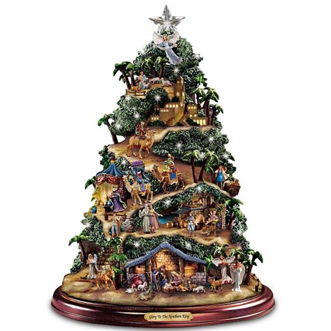 lighted christmas tree decoration thomas kinkade musical lighted nativity christmas tree