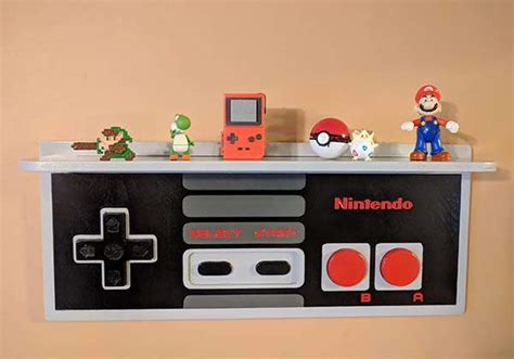 handmade nintendo nes controller inspired wall display shelf gadgetsin