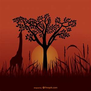 African giraffe silhouettes Vector | Free Download