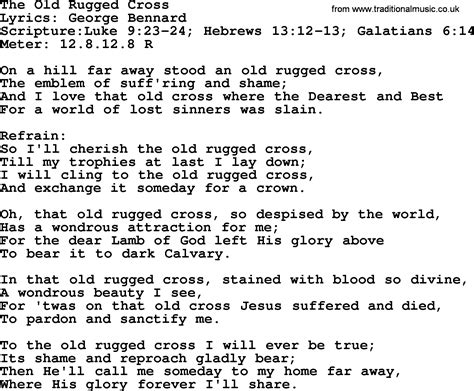 To The Rugged Cross Lyrics by Most Popular Church Hymns And Songs The Rugged Cross
