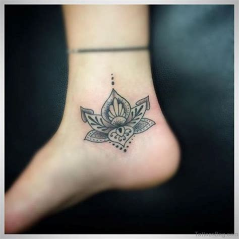 cute lotus tattoos  ankle