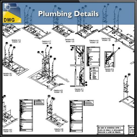 architecture floor plans plumbing detail design in autocad dwg files cad design
