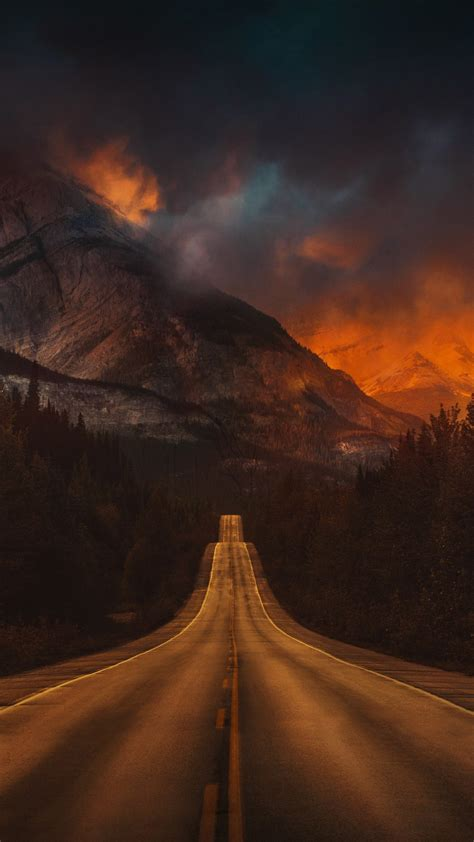 mountain nature night road  wallpaper