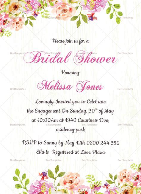 floral bridal shower invitation card design template