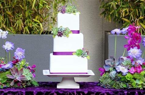Fondant Succulent Wedding Cake Purple Green