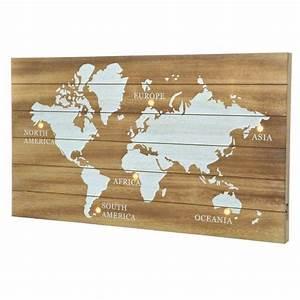 Carte Du Monde Deco : carte du monde illumin e marron d coration murale eminza ~ Teatrodelosmanantiales.com Idées de Décoration