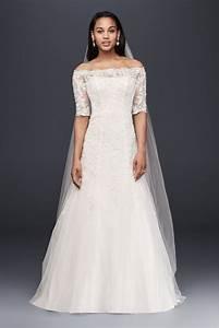 jewel off the shoulder 3 4 sleeve wedding dress style With 3 4 sleeve wedding dress