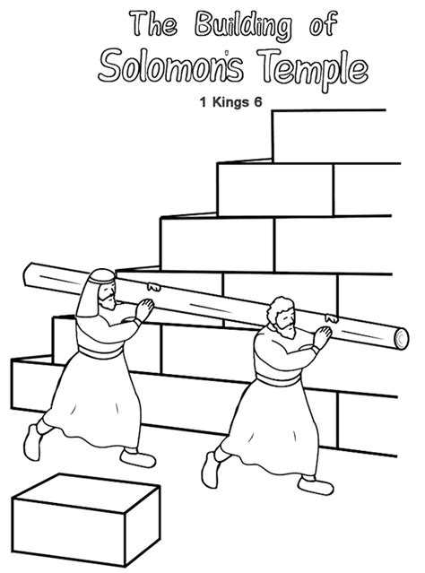 Building The Temple Coloring Pages King Solomon Coloring Page Coloring Home