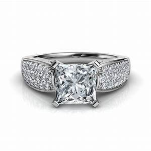 wide band design pave princess cut diamond engagement ring With pave wedding band with engagement ring
