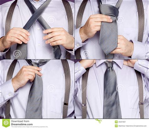 Sequence Illustrating A Man Tying A Necktie Stock Image