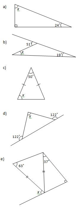 angles   triangle worksheets  solutions
