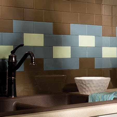 aspect peel and stick backsplash tiles in glass and