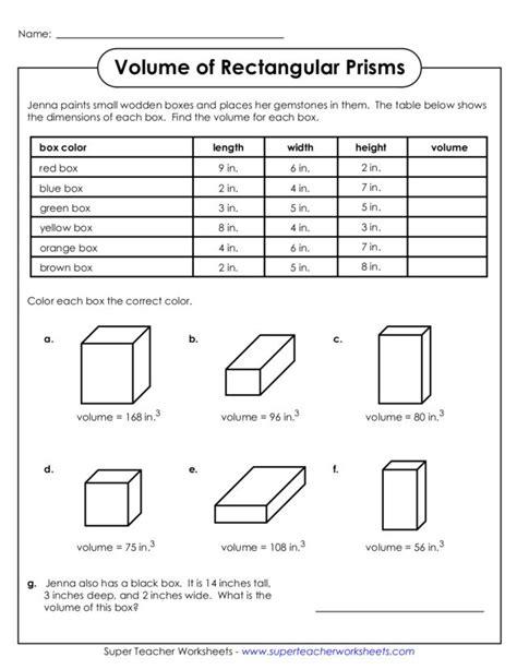 free math worksheets on volume of rectangular prism