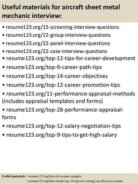 top 8 aircraft sheet metal mechanic resume sles