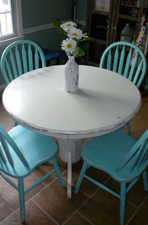 diy white chalk paint on wood table turquoise