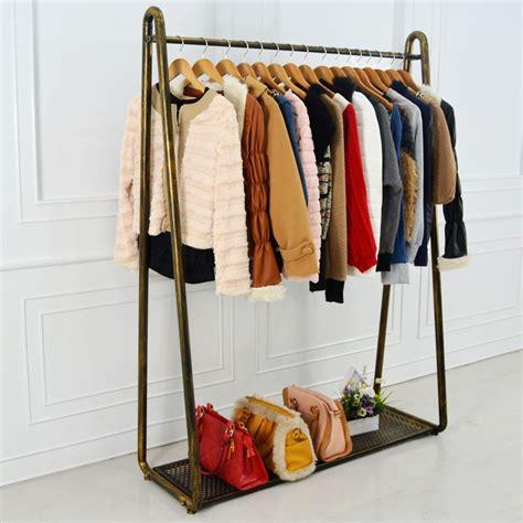 wrought iron coat rack clothing display shelf floor