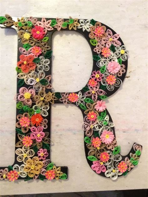 quilled letter  hobby lobby wood letter spray painted black quilled flowers added