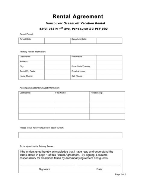 rental agreement templates excel  formats