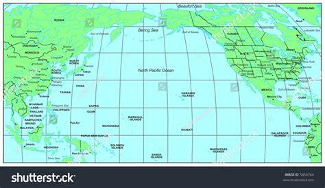 Sea Maps Series North Pacific Ocean Stock Illustration
