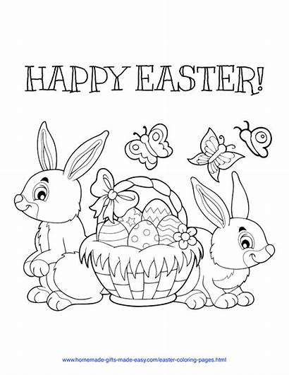 Easter Coloring Printable Happy Easy Worksheets Sheets