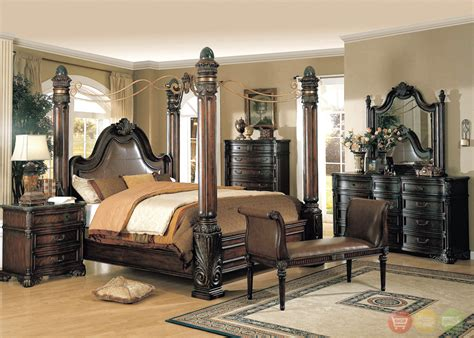 fabiana traditional poster canopy leather bedroom set